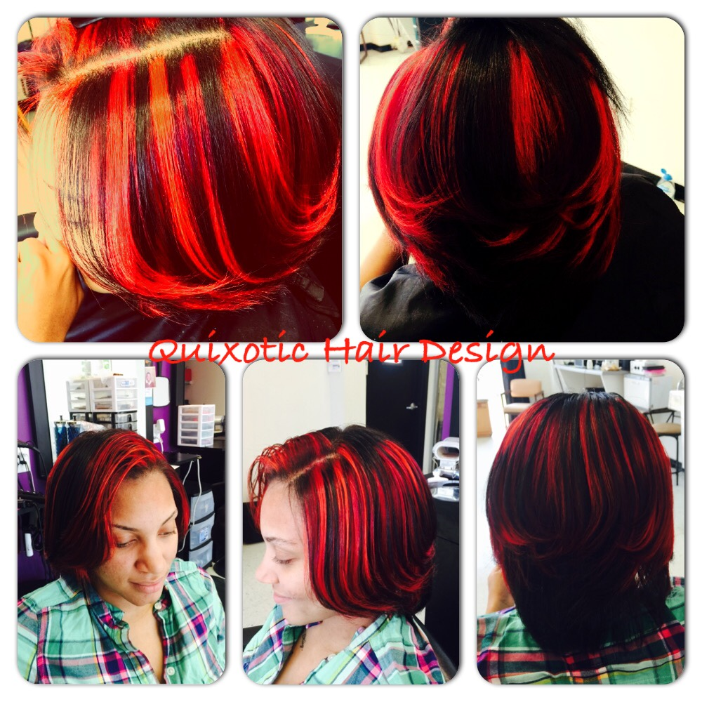 Red And Orange Highlights And Silk Press